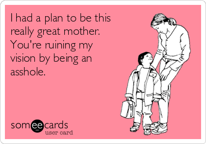 I had a plan to be this really great mother.  You're ruining my vision by being an asshole.