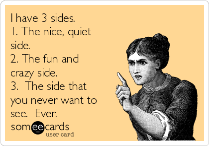 I have 3 sides. 1. The nice, quiet side. 2. The fun and crazy side. 3.  The side that you never want to see.  Ever.