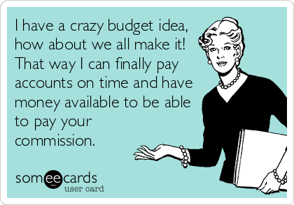 I have a crazy budget idea, how about we all make it! That way I can finally pay accounts on time and have money available to be able to pay your commission.