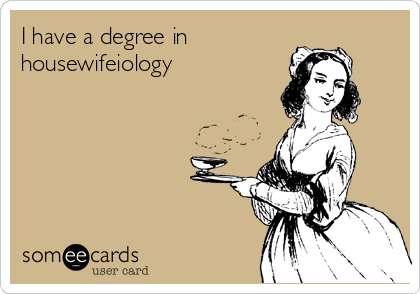 I have a degree in housewifeiology