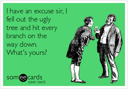 I have an excuse sir, I fell out the ugly tree and hit every branch on the way down. What's yours?