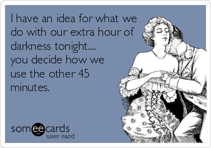 I have an idea for what we do with our extra hour of darkness tonight.... you decide how we use the other 45 minutes.