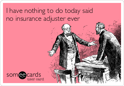 I have nothing to do today said no insurance adjuster ever