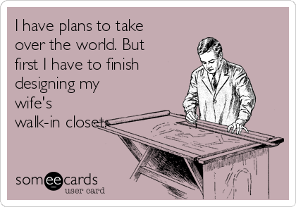 I have plans to take over the world. But first I have to finish designing my wife's walk-in closet.