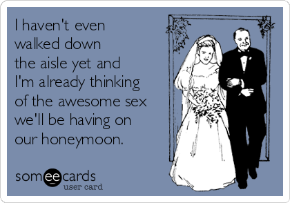 I haven't even walked down the aisle yet and I'm already thinking of the awesome sex we'll be having on our honeymoon.