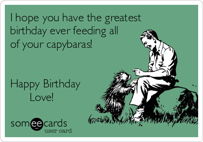I hope you have the greatest birthday ever feeding all of your capybaras!   Happy Birthday       Love!