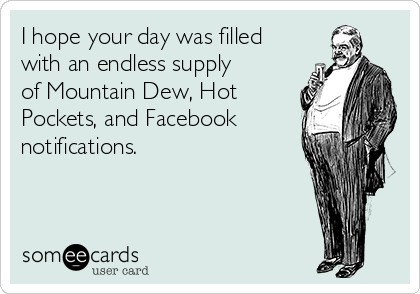 I hope your day was filled with an endless supply of Mountain Dew, Hot Pockets, and Facebook notifications.