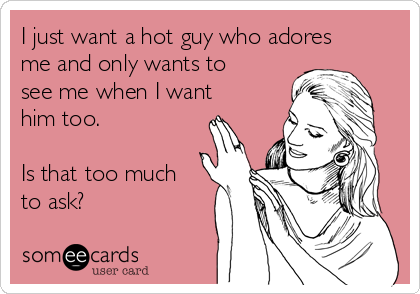I just want a hot guy who adores me and only wants to see me when I want him too.  Is that too much to ask?