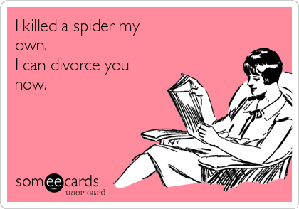 I killed a spider my own. I can divorce you now.