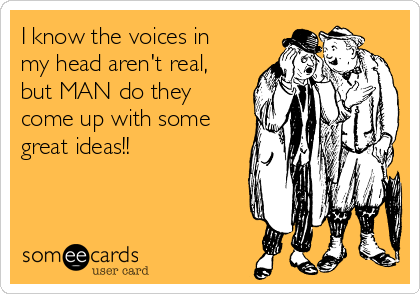 I know the voices in my head aren't real, but MAN do they come up with some great ideas!!