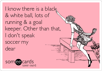 I know there is a black & white ball, lots of  running & a goal keeper. Other than that, I don't speak soccer my dear