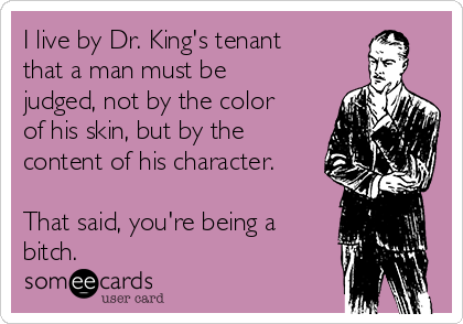 I live by Dr. King's tenant that a man must be judged, not by the color of his skin, but by the content of his character.  That said, you're being a bitch.