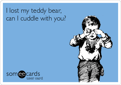 I lost my teddy bear, can I cuddle with you?