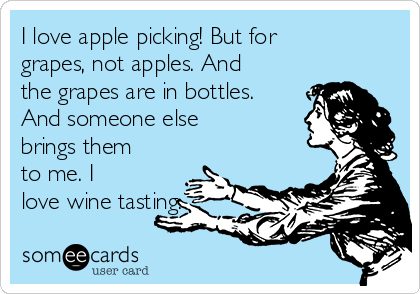 I love apple picking! But for grapes, not apples. And the grapes are in bottles. And someone else brings them to me. I love wine tasting.