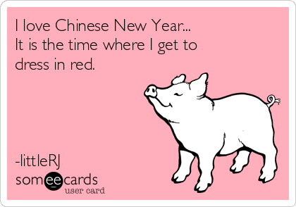 I love Chinese New Year... It is the time where I get to dress in red.     -littleRJ