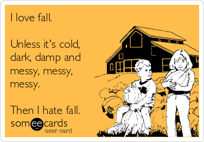 I love fall.  Unless it's cold, dark, damp and messy, messy, messy.  Then I hate fall.