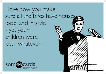 I love how you make sure all the birds have houses, food, and in style - yet your children were just... whatever!
