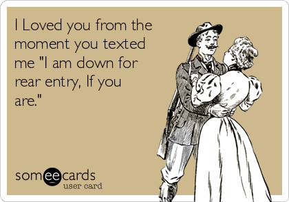 "I Loved you from the moment you texted me ""I am down for rear entry, If you are."""