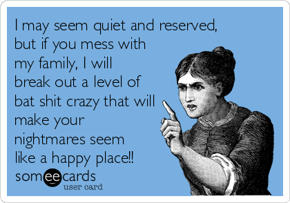 I may seem quiet and reserved, but if you mess with my family, I will break out a level of bat shit crazy that will make your nightmares seem like a happy place!!