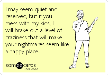 I may seem quiet and reserved, but if you mess with my kids, I will brake out a level of  craziness that will make your nightmares seem like a happy place....