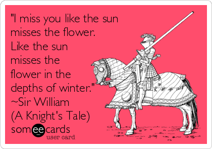 """I miss you like the sun misses the flower. Like the sun misses the flower in the depths of winter."" ~Sir William (A Knight's Tale)"