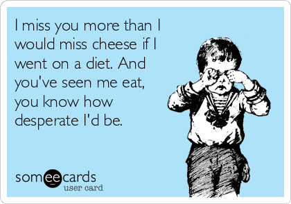I miss you more than I would miss cheese if I went on a diet. And you've seen me eat, you know how desperate I'd be.