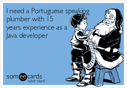 I need a Portuguese speaking plumber with 15 years experience as a Java developer