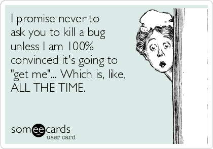 "I promise never to ask you to kill a bug unless I am 100% convinced it's going to ""get me""... Which is, like,  ALL THE TIME."