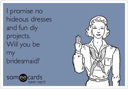 I promise no hideous dresses and fun diy projects.  Will you be my bridesmaid?