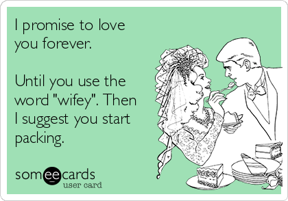 "I promise to love you forever.   Until you use the word ""wifey"". Then I suggest you start packing."