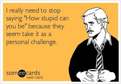 "I really need to stop saying ""How stupid can you be"" because they seem take it as a personal challenge."