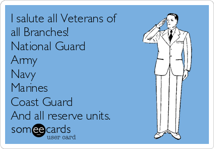I salute all Veterans of all Branches!  National Guard  Army Navy Marines Coast Guard  And all reserve units.