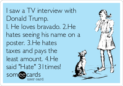 """I saw a TV interview with Donald Trump.  I. He loves bravado. 2.He hates seeing his name on a poster. 3.He hates taxes and pays the least amount. 4.He said """"Hate"""" 31times!"""