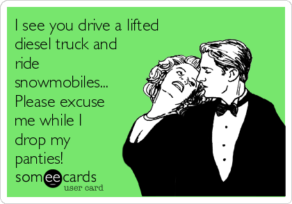 I see you drive a lifted diesel truck and ride snowmobiles... Please excuse me while I drop my panties!