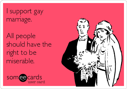 I support gay marriage.  All people should have the right to be miserable.