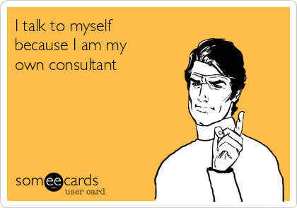 I talk to myself because I am my own consultant
