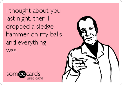 I thought about you last night, then I dropped a sledge hammer on my balls and everything was