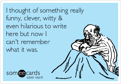 I thought of something really funny, clever, witty & even hilarious to write here but now I can't remember what it was.