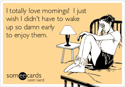 I totally love mornings!  I just  wish I didn't have to wake  up so damn early  to enjoy them.