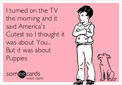 I turned on the TV this morning and it said America's Cutest so I thought it was about You... But it was about  Puppies