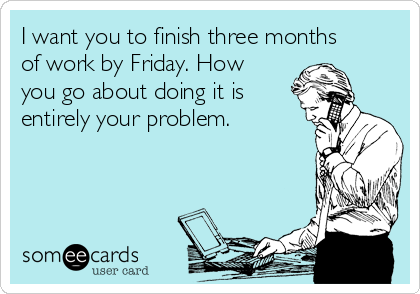 I want you to finish three months of work by Friday. How you go about doing it is entirely your problem.
