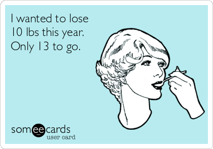 I wanted to lose 10 lbs this year. Only 13 to go.