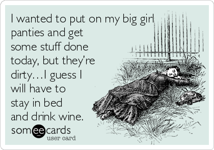 I wanted to put on my big girl panties and get some stuff done today, but they're dirty…I guess I will have to stay in bed and drink wine.