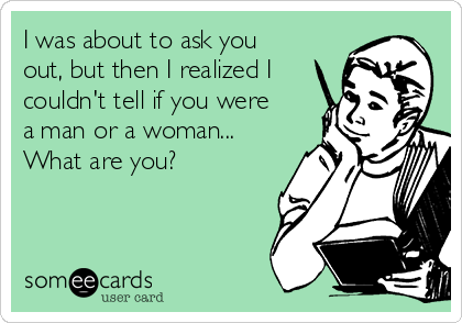 I was about to ask you out, but then I realized I couldn't tell if you were a man or a woman... What are you?