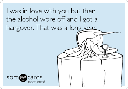 I was in love with you but then the alcohol wore off and I got a hangover. That was a long year.