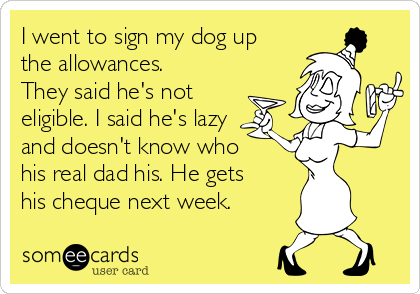I went to sign my dog up the allowances. They said he's not eligible. I said he's lazy and doesn't know who his real dad his. He gets his cheque next week.