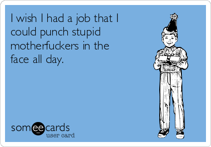 I wish I had a job that I could punch stupid motherfuckers in the face all day.