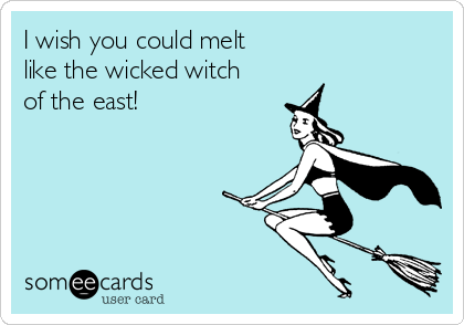 I wish you could melt like the wicked witch of the east!