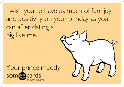 I wish you to have as much of fun, joy and positivity on your bithday as you can after dating a pig like me.    Your prince muddy