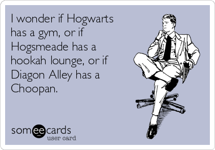 I wonder if Hogwarts has a gym, or if Hogsmeade has a hookah lounge, or if Diagon Alley has a Choopan.